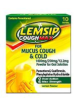Lemsip Cough Max for Mucus Cough & Cold Lemon Flavour - 10 Sachets