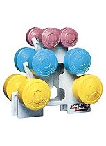 Homecraft Low Cost Plastic Coated Dumbbell Set and Stand (1.5kg, 3kg, 5kg)