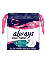Always Silk Collection Softer + Perfume Free Normal Sanitary Towels with Wings x16 Pads