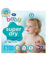 Boots Super Dry Nappies Size 5 Junior Carry Pack - 1 x 27 Nappies