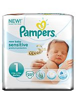 Pampers New Baby Sensitive Nappies Size 1 Carry Pack - 23 Nappies