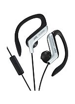 JVC Sport Ear Clip Headphones with Remote and Microphone in Silver