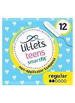 Lil-Lets teens non-applicator tampons mini/regular - 12 pack
