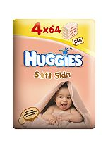 Huggies Soft Skin Baby Wipes - 4 x 64 Pack Wipes