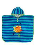 Boys Blue Fish Poncho - Mini Club
