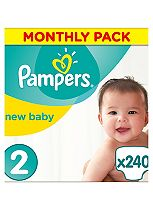 Pampers New Baby Nappies Size 2 Monthly Pack  - 240Nappies