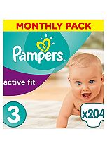 Pampers Premium Protection Active Fit Size 3 Monthly Saving Pack - 204 Nappies