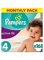 Pampers Premium Protection Active Fit Size 4 Monthly Saving Pack - 168 Nappies