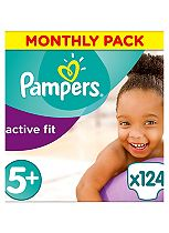 Pampers Premium Protection Active Fit Size 5+ Monthly Saving Pack - 124 Nappies