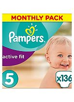 Pampers Premium Protection Active Fit Size 5 Monthly Saving Pack - 136 Nappies