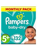 Pampers Baby-Dry Nappies Size 5+ Monthly Pack  - 132 Nappies