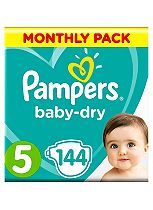 Pampers Baby-Dry Nappies Size 5 Monthly Pack  - 144 Nappies