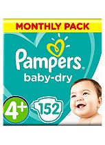 Pampers Baby-Dry Nappies Size 4+ Monthly Pack  - 152 Nappies