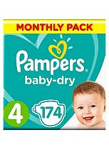 Pampers Baby-Dry Nappies Size 4 Monthly Pack  - 174 Nappies