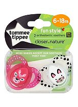 Tommee Tippee Closer to Nature Funtime Soother x2- 6-18 months