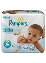Pampers New Baby Sensitive Nappies Size 2 Carry Pack - 28 Nappies