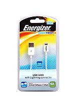 Energizer High Tech USB Charge and Sync Cable for iPhone 5, 5C, 6/ iPad Mini/ New iPad- White