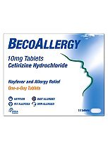 BecoAllergy 10mg Tablets Hayfever and Allergy Relief - One-a-day - 14 Tablets