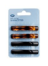 Boots Mini Hair Barrettes Black and Tortoiseshell 4 Pack