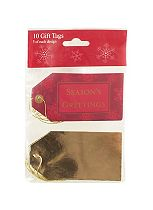 Boots 10 Traditional Christmas Gift Tags Red and Gold