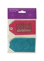 Boots 10 Glamour Christmas Gift Tags Teal and Pink