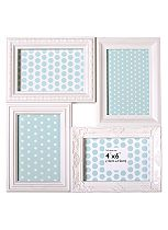 Anker Decorative White 4 Aperture Photo Frame-  6x4