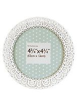 Innova Editions White Laser Cut Circular Photo Frame- 4 x 4