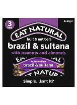 Eat Natural Fruit & Nut Bars Brazil & Sultana with Peanuts and Almonds 3 x 50g