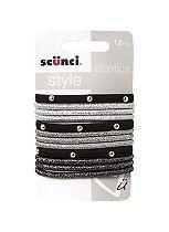 Scunci Style Black Mylar Studded Elastic Set 10's