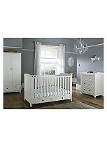 Silver Cross Nostalgia Cot Bed, Dresser & Wardrobe - Antique White