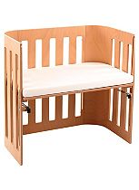 Babybay Trend Bedside Cot with Siderail & Foam/Bamboo Mattress - Varnished Beech