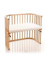 Babybay Maxi Bedside Cot with Siderail & Foam/Bamboo Mattress - Beech