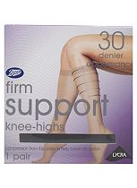 Boots 30 Denier Firm Support Black Knee Highs 1 Pair Pack