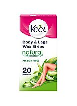 Veet Natural Inspirations Wax Strips with Aloe Vera for Normal Skin 20 Wax Strips