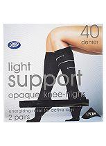 Boots 40 Denier Light Support Black Knee Highs 2 Pair Pack