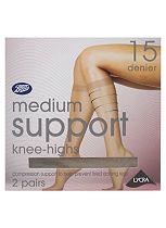 Boots 15 Denier Medium Support Mist Knee Highs 2 Pair Pack