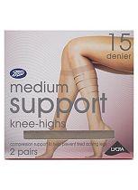 Boots 15 Denier Medium Support Natural Tan Knee Highs 2 Pair Pack