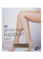 Boots Gloss Light Support Tights 15 Denier Black