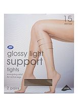 Boots Gloss Light Support Tights 15 Denier  Natural Tan
