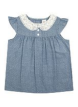 Girls Chambray Spot Blouse - All Dressed Up