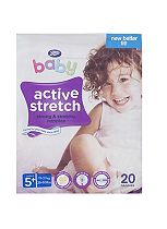 Boots Baby Active Stretch Nappies Size 5+ Junior Carry Pack - 20 Nappies