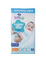 Boots Baby Super Dry Nappies Size 3 Midi Economy Pack - 56 Nappies