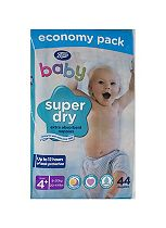 Boots Baby Super Dry Nappies Size 4+ Maxi+ Economy Pack - 44 Nappies
