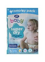 Boots Baby Super Dry Nappies Size 5 Junior Economy Pack - 40 Nappies