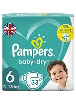 Pampers Baby Dry Size 6 (Extra Large) Essential Pack 33 Nappies