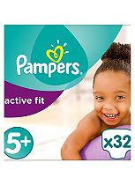 Pampers Premium Protection Active Fit Size 5+ (Junior+) Essential Pack - 32 Nappies