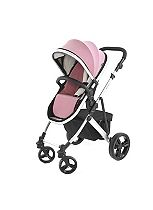 Tutti Bambini Riviera Plus 3 in 1 Silver Stroller - Dusty Pink / Cool Grey
