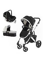 Tutti Bambini Riviera 3 in 1 Silver Stroller Travel System - Black / Cool Grey