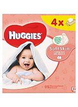 Huggies Baby Wipes Soft Skin Quads 56s
