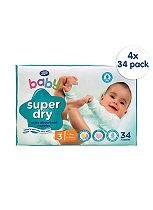 Boots Baby Super Dry Nappies Size 3 Midi Super Value Pack - 136 Nappies